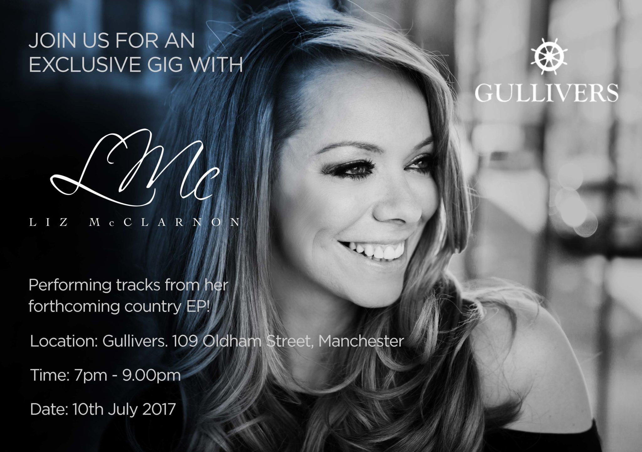 Exclusive gig with Liz McClarnon at Gullivers, Manchester, 10th July 2017